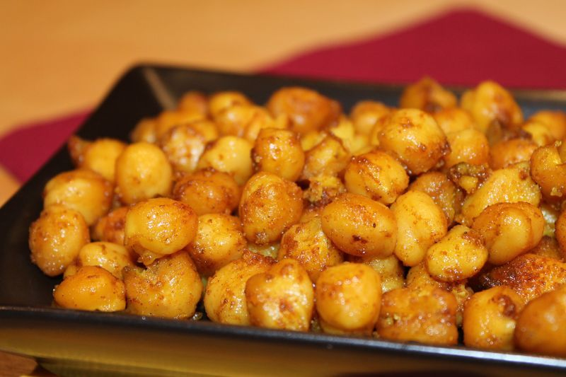Garbanzos asados al curry