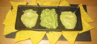 Guacamole en dos texturas